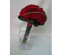 Букет 19 бр. рози , декорирани с перли, берграс и листа от аралия
